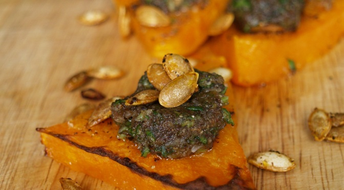 Roast butternut squash triangles with hazelnut pesto