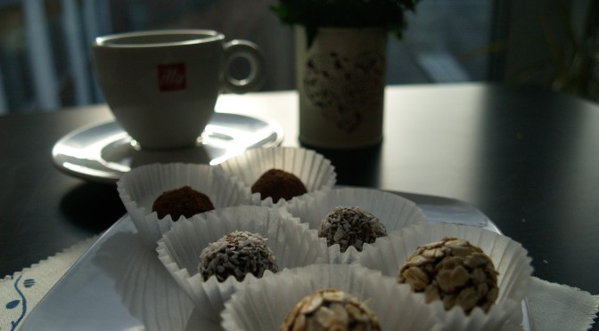 Espresso and oat truffles. No sugar, no butter, no flour.