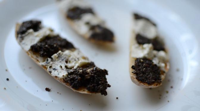 Black olive tapenade and cream cheese crostini