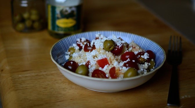 Couscous, feta and olive salad