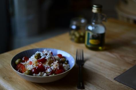 Couscous feta olive salad