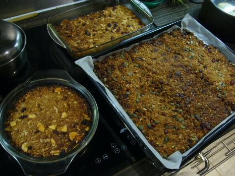 Three full trays of granola - some were for making bars, some for granola cereal