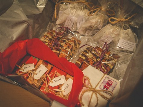 a Christmas packet full of homemade goodness that Auste sent to her family
